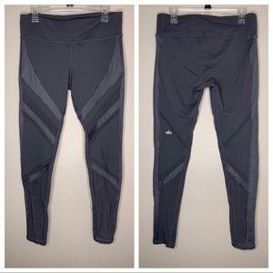 Alo Gray Mesh Panel Full Length Leggings Large